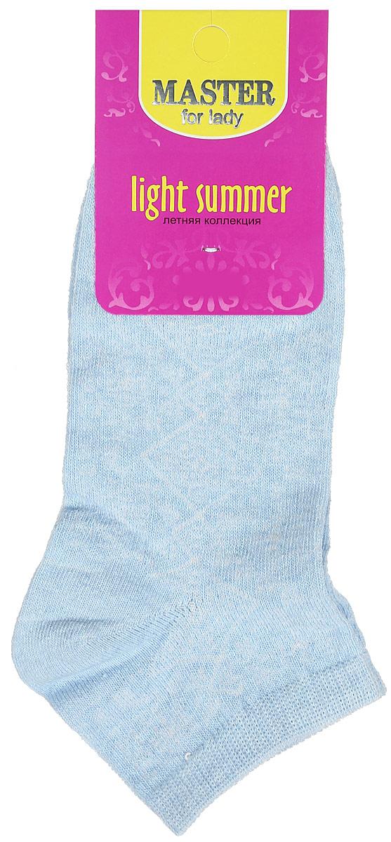 Носки женские Master Socks, цвет: голубой. 55059. Размер 2355059Удобные носки Master Socks, изготовленные из высококачественного комбинированного материала, очень мягкие и приятные на ощупь, позволяют коже дышать.Эластичная резинка плотно облегает ногу, не сдавливая ее, обеспечивая комфорт и удобство. Модель с укороченным паголенком оформлена полупрозрачным орнаментом.Удобные и комфортные носки великолепно подойдут к любой вашей обуви.