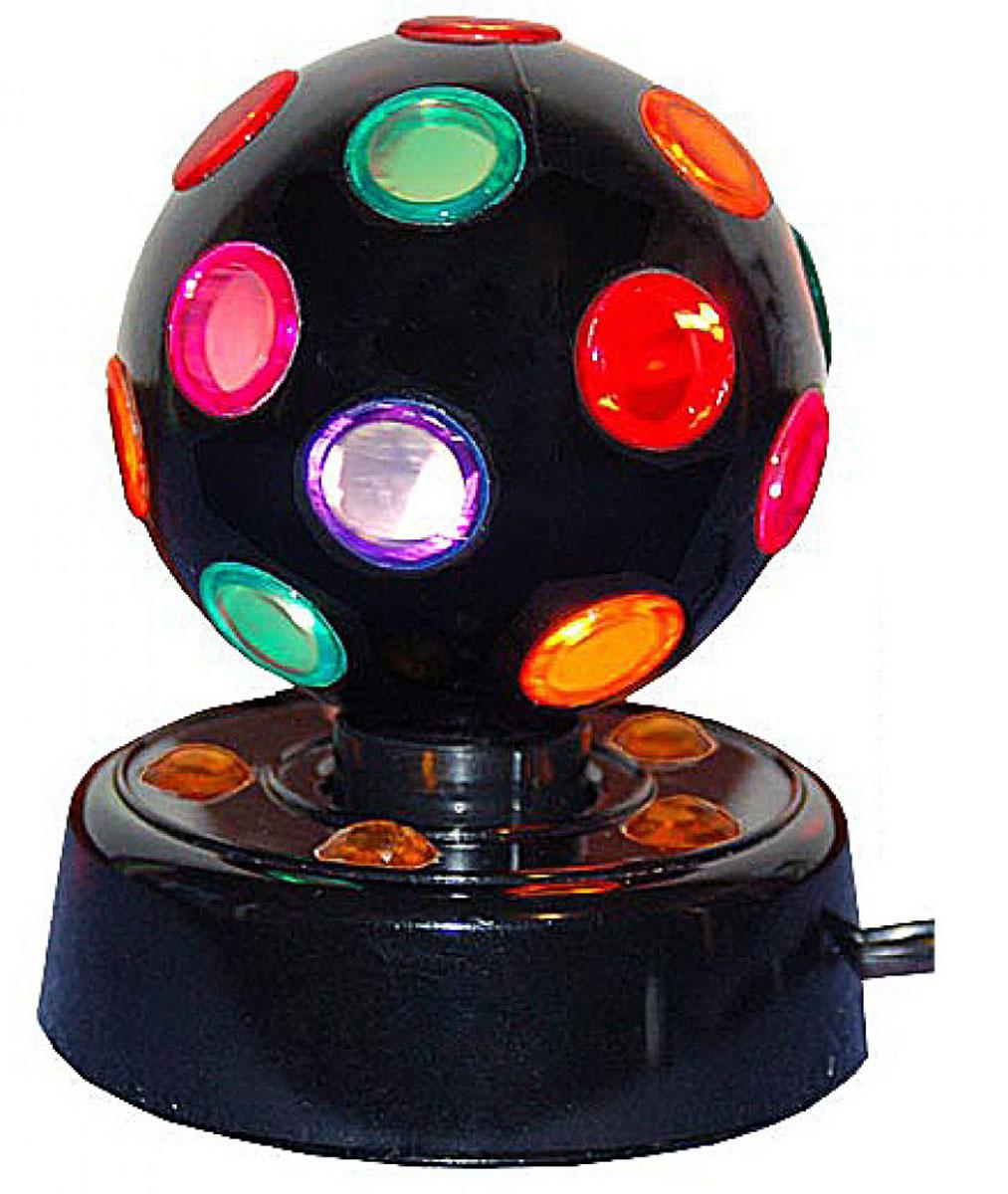 Светильник Эврика Дискошар, цвет: черный, диаметр 14 см92696Светильник Эврика Дискошар предназначен для оформления праздничных вечеринок. При включении в сеть шар начинает вращаться и светиться разноцветными огоньками. Дискошар поможет создать атмосферу веселья и превратит любую вечеринку в яркое событие!Работает от сети (220V).Диаметр шара: 14 см.Высота светильника: 20 см.