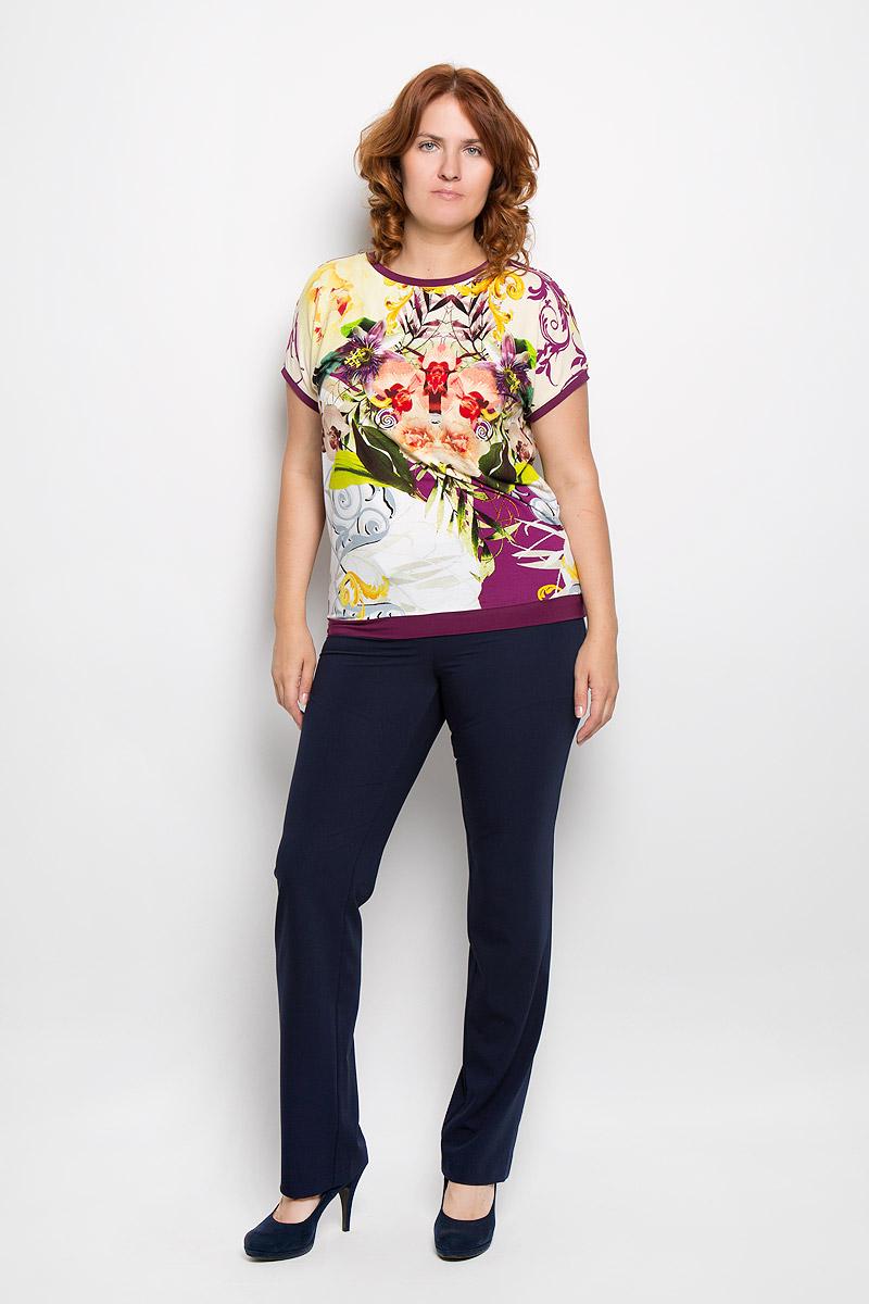 Блузка женская Milana Style, цвет: желтый, мультиколор. 924м. Размер 54924мСтильная женская блузка Milana Style, выполненная из вискозы с добавлением лайкры, подчеркнет ваш уникальный стиль и поможет создать женственный образ. Модель c круглым вырезом горловины и рукавами-кимоно. Низ рукавов и низ изделия дополнены тонкими манжетами. Блуза оформлена цветочным принтом. Такая блузка будет дарить вам комфорт в течение всего дня и послужит замечательным дополнением к вашему гардеробу.