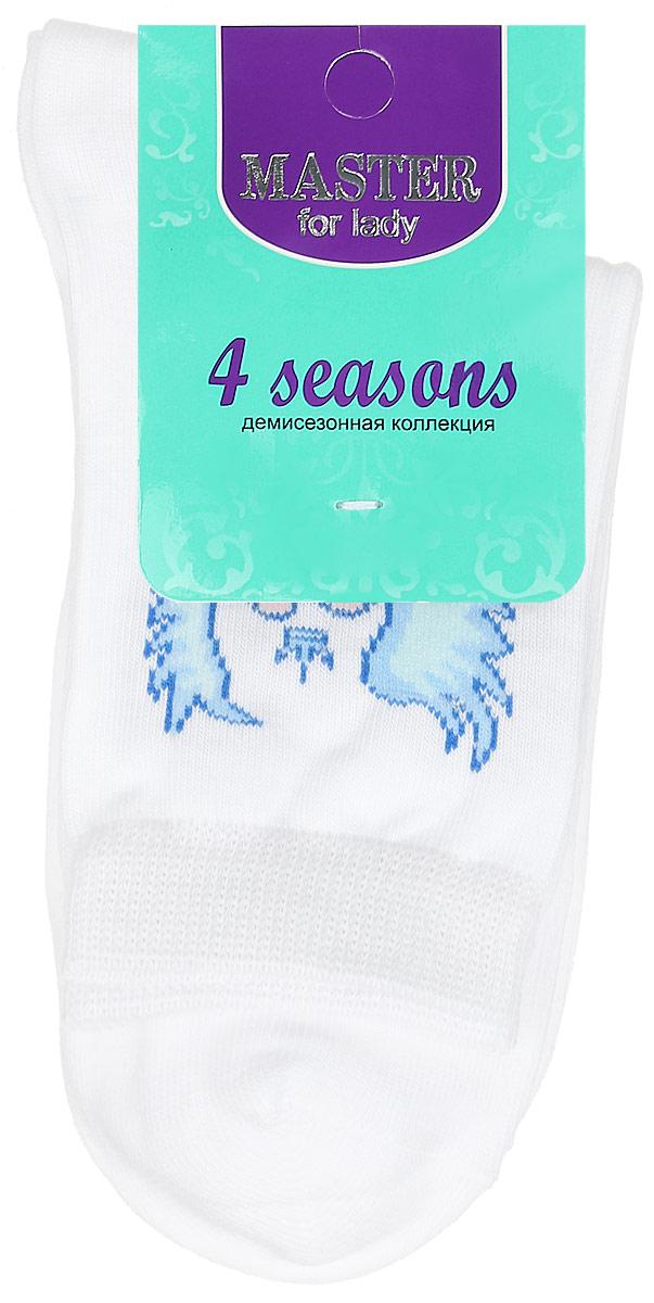 Носки женские Master Socks, цвет: белый. 55003. Размер 2555003Удобные носки Master Socks, изготовленные из высококачественного комбинированного материала, очень мягкие и приятные на ощупь, позволяют коже дышать. Эластичная резинка плотно облегает ногу, не сдавливая ее, обеспечивая комфорт и удобство. Носки с паголенком классической длины оформлены оригинальным рисунком в виде сердец. Практичные и комфортные носки великолепно подойдут к любой вашей обуви.
