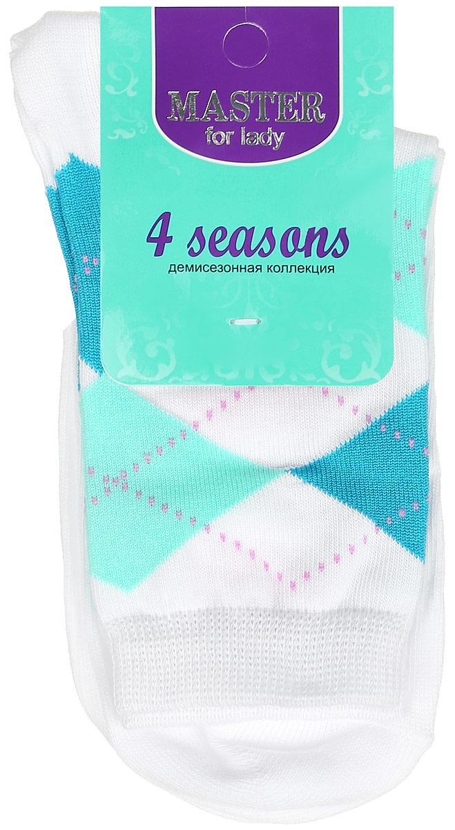 Носки женские Master Socks, цвет: белый. 55032. Размер 2355032Удобные носки Master Socks, изготовленные из высококачественного комбинированного материала, очень мягкие и приятные на ощупь, позволяют коже дышать. Эластичная резинка плотно облегает ногу, не сдавливая ее, обеспечивая комфорт и удобство. Носки с паголенком классической длины оформлены орнаментом в ромбик. Практичные и комфортные носки великолепно подойдут к любой вашей обуви.