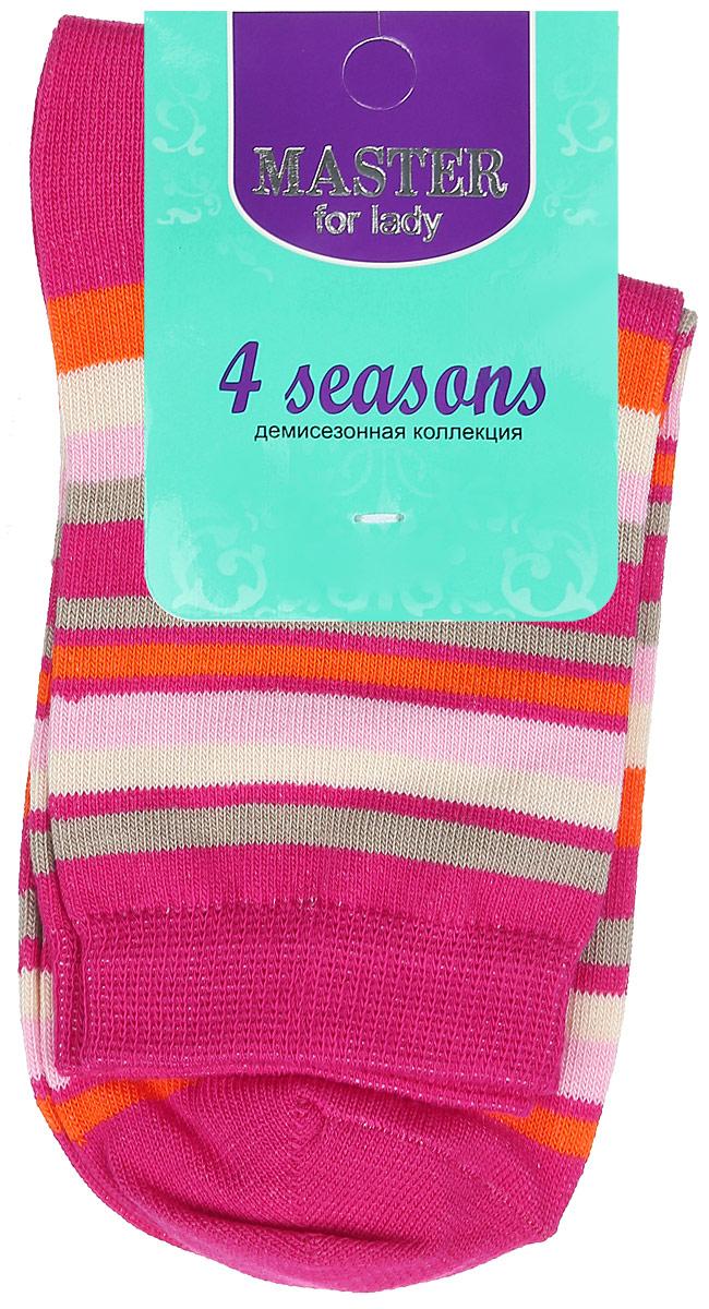 Носки женские Master Socks, цвет: малиновый, мультиколор. 55002. Размер 2555002Удобные носки Master Socks, изготовленные из высококачественного комбинированного материала, очень мягкие и приятные на ощупь, позволяют коже дышать. Эластичная резинка плотно облегает ногу, не сдавливая ее, обеспечивая комфорт и удобство. Носки с паголенком классической длины оформлены принтом в полоску. Практичные и комфортные носки великолепно подойдут к любой вашей обуви.
