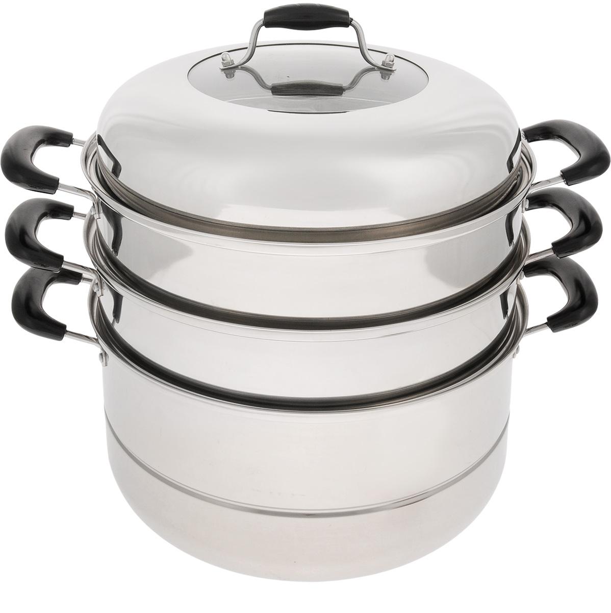 Мантоварка Mayer & Boch с крышкой, 3-уровневая, 10,5 л. 34403440Мантоварка Mayer & Boch изготовлена из высококачественной нержавеющей стали, что делает посуду износостойкой, прочной и практичной. Зеркальная полировка придает изделию особо эстетичный внешний вид. Мантоварка имеет 3 уровня: кастрюлю для бульона, 2 съемные секции с отверстиями и сетку. Изделие снабжено эргономичными бакелитовыми ручками, которые обеспечивают комфортное использование. Крышка, выполненная из нержавеющей стали и жаропрочного стекла, оснащена удобной ручкой и небольшими отверстиями для выпуска пара.Глубина изделия, диаметр отверстий, объем специально предназначены для приготовления мантов. В мантоварке также можно готовить и другие блюда: овощи, котлеты или пельмени. Готовить на пару очень просто, продукты не пригорают и не склеиваются, а готовое блюдо выходит рассыпчатым и ароматным. Питательные элементы и витамины не растворяются в воде, а остаются в продуктах. Еда получается не только полезной, но и по-настоящему вкусной.Подходит для газовых, электрических и стеклокерамических плит. Внутренний диаметр кастрюли: 30 см. Диаметр отверстий секции мантоварки: 6 мм. Высота стенки кастрюли: 16,5 см. Высота стенки секции: 9 см. Ширина кастрюли (с учетом ручек): 43 см. Общая высота мантоварки (с учетом крышки): 41 см. Общая высота мантоварки (без учета крышки): 29 см.