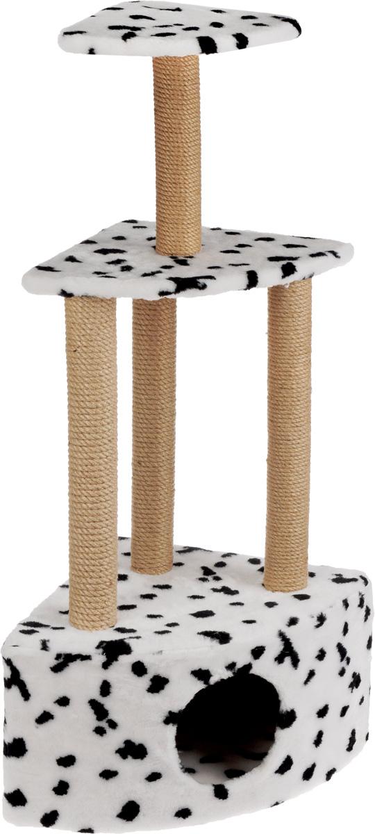 Игровой комплекс для кошек Меридиан, 3-ярусный, угловой, с домиком и когтеточкой, цвет: белый, черный, бежевый, 59 х 43 х 111 см чехол для сноуборда dakine freestyle цвет черный белый 30 х 16 х 157 см