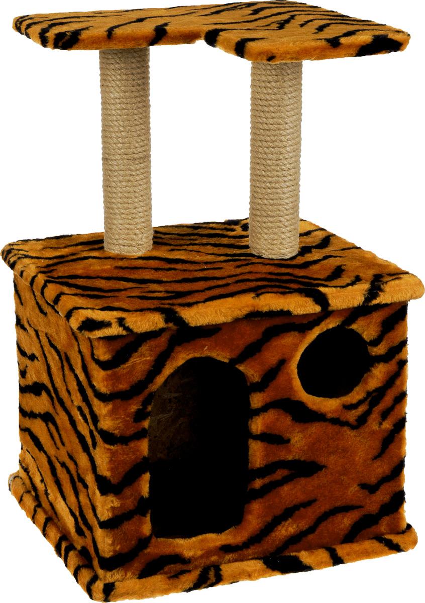 Игровой комплекс для кошек Меридиан, с фигурной полкой и домиком, цвет: оранжевый, черный, бежевый, 45 х 36 х 69 см цена