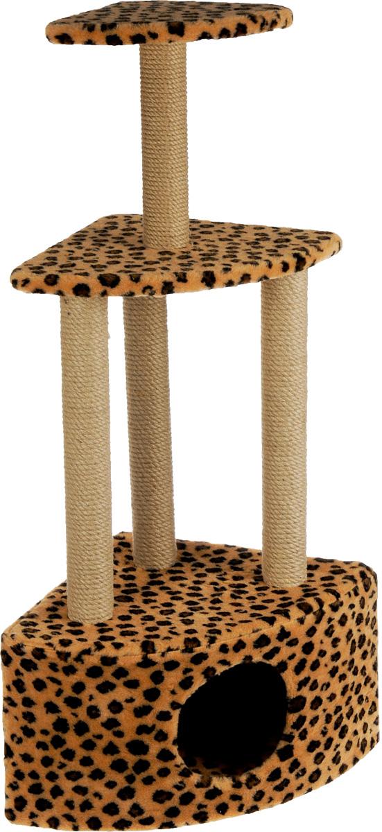Игровой комплекс для кошек Меридиан, 3-ярусный, угловой, с домиком и когтеточкой, цвет: коричневый, черный, бежевый, 59 х 43 х 111 смД431 ЛеИгровой комплекс для кошек Меридиан выполнен из высококачественного ДВП и ДСП и обтянут искусственным мехом. Изделие предназначено для кошек. Комплекс имеет 3 яруса. Ваш домашний питомец будет с удовольствием точить когти о специальные столбики, изготовленные из джута. А отдохнуть он сможет либо на полках, либо в расположенном внизу домике.Общий размер: 59 х 43 х 111 см.Размер домика: 59 х 43 х 28 см.Размер большой полки: 48 х 35 см.Размер малой полки: 34 х 25 см.
