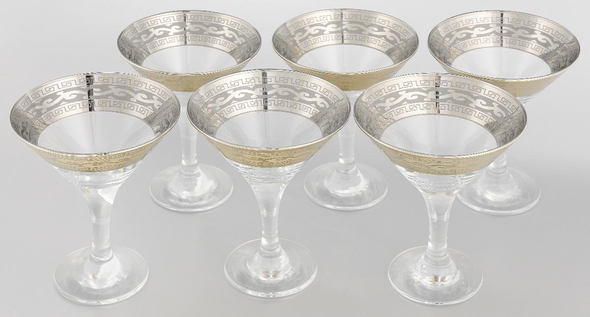 Набор бокалов для мартини Гусь-Хрустальный, 170 мл, 6 шт. 08-41008-410 жеНабор Гусь-Хрустальный состоит из 6 бокалов, изготовленных из высококачественного натрий-кальций-силикатного стекла. Изделия оформлены красивой широкой окантовкой с узором. Бокалы предназначены для подачи мартини. Такой набор прекрасно дополнит праздничный стол и станет желанным подарком в любом доме. Можно мыть в посудомоечной машине. Диаметр бокала (по верхнему краю): 10,5 см. Высота бокала: 13,5 см. Диаметр основания бокала: 6,5 м.Уважаемые клиенты! Обращаем ваше внимание на незначительные изменения в дизайне товара, допускаемые производителем. Поставка осуществляется в зависимости от наличия на складе.