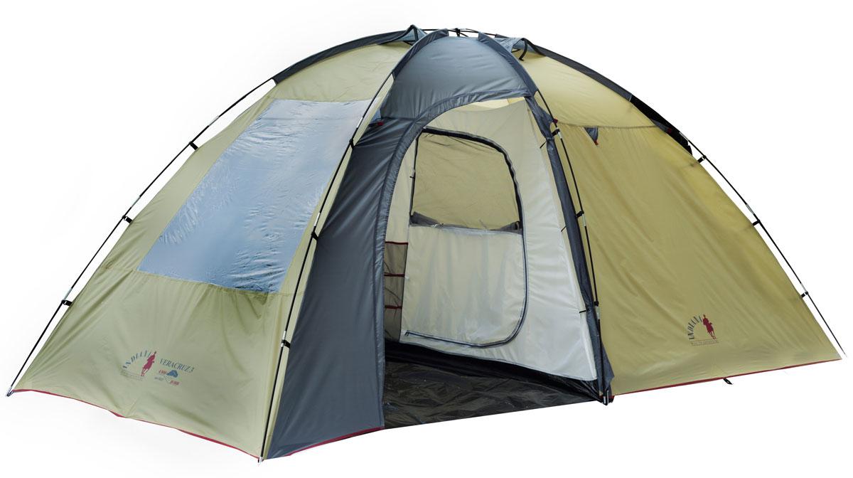 Палатка INDIANA VERACRUZ 3360200009Размер внешней палатки: 195 x 425 x210 см. Размер внутренней палатки: 190 x220 x200 см.