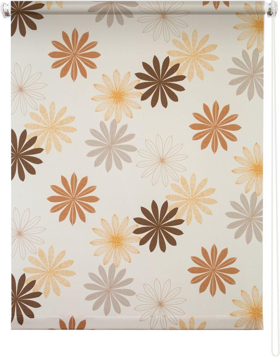 Штора рулонная Уют Космея, цвет: кремовый, 80 х 175 см62.РШТО.8978.080х175Штора рулонная Уют Космея выполнена из прочного полиэстера с обработкой специальным составом, отталкивающим пыль. Ткань не выцветает, обладает отличной цветоустойчивостью и хорошей светонепроницаемостью. Изделие оформлено красочным цветочным узором, отлично подойдет для спальни, кухни, гостиной, а также детской. Штора закрывает не весь оконный проем, а непосредственно само стекло и может фиксироваться в любом положении. Она быстро убирается и надежно защищает от посторонних взглядов. Компактность помогает сэкономить пространство. Универсальная конструкция позволяет крепить штору на раму без сверления, также можно монтировать на стену, потолок, створки, в проем, ниши, на деревянные или пластиковые рамы. В комплект входят регулируемые установочные кронштейны и набор для боковой фиксации шторы. Возможна установка с управлением цепочкой как справа, так и слева. Изделие при желании можно самостоятельно уменьшить. Такая штора станет прекрасным элементом декора окна и гармонично впишется в интерьер любого помещения.