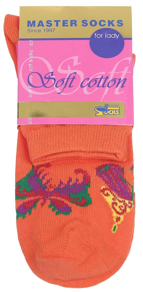 Носки женские Master Socks, цвет: оранжевый. 85111. Размер 2585111Удобные носки Master Socks, изготовленные из высококачественного комбинированного материала, очень мягкие и приятные на ощупь, позволяют коже дышать.Эластичная резинка плотно облегает ногу, не сдавливая ее, обеспечивая комфорт и удобство. Модель с стандартным паголенком оформлена принтом с изображением бабочек.Удобные и комфортные носки великолепно подойдут к любой вашей обуви.