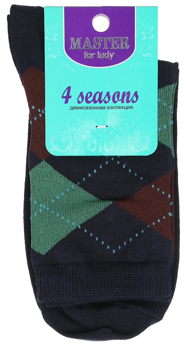 Носки женские Master Socks, цвет: темно-синий. 55032. Размер 2555032Удобные носки Master Socks, изготовленные из высококачественного комбинированного материала, очень мягкие и приятные на ощупь, позволяют коже дышать. Эластичная резинка плотно облегает ногу, не сдавливая ее, обеспечивая комфорт и удобство. Носки с паголенком классической длины оформлены орнаментом в ромбик. Практичные и комфортные носки великолепно подойдут к любой вашей обуви.