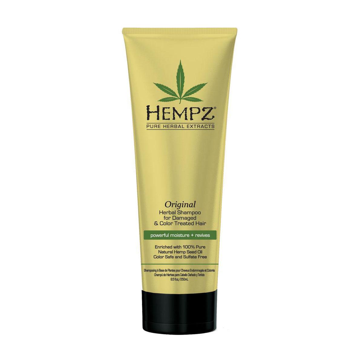 Hempz Шампунь растительный Оригинальный сильной степени увлажнения для поврежденных волос Original Herbal Shampoo 265 мл120-2411-03Растительный шампунь сильной степени увлажнения для сильно поврежденных и окрашенных волос. Густая пена шампуня мягко очищает волосы. Без сульфатов для максимального сохранения цвета окрашенных волос.