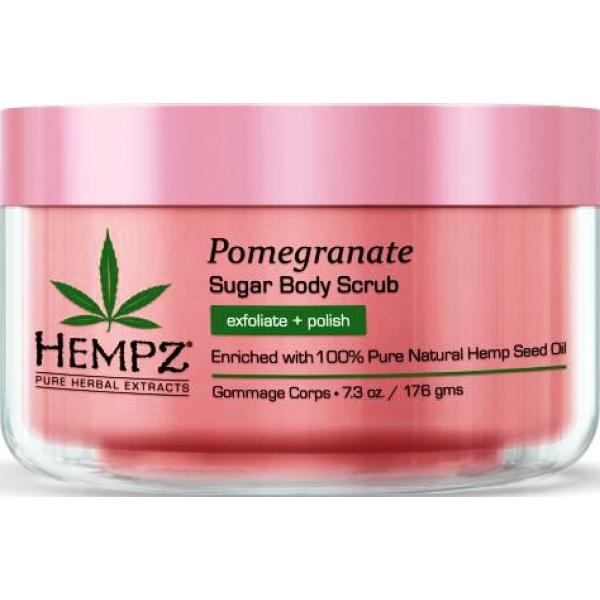 Hempz Скраб для тела сахар и ганат Sugar and Pomegranate Body Scrub 176 г676280015494Скраб для тела сахар и гранат Sugar & Pomegranate Body Scrub эффективно и мягко очищает кожу от ороговевшего слоя, обладает разглаживающим эффектом, смягчает и питает кожу. Сбалансированный состав скраба содержит натуральные компоненты, которые необходимы для поддержания естественного баланса кожного покрова: масло и экстракт семян конопли снабжают кожу всеми необходимыми питательными соединениями, дробленая кожура грецкого ореха обладает эффективным очищающим воздействием, гранатовый экстракт, являясь мощным антиоксидантом, снижает вредное влияние свободных радикалов.