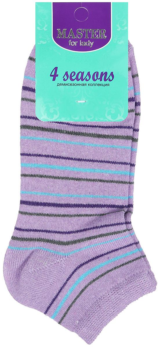 Носки женские Master Socks, цвет: сиреневый, голубой, темно-синий, зеленый. 55103. Размер 2555103Удобные носки Master Socks, изготовленные из высококачественного комбинированного материала, очень мягкие и приятные на ощупь, позволяют коже дышать. Эластичная резинка плотно облегает ногу, не сдавливая ее, обеспечивая комфорт и удобство. Носки с укороченным паголенком и полупрозрачными полосками на верхней части носка. Модель оформлена принтом в полоску.Удобные и комфортные носки великолепно подойдут к любой вашей обуви.