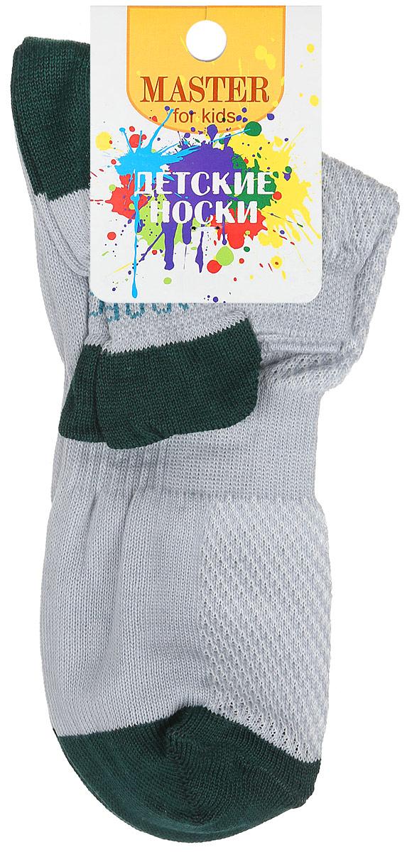 Носки детские Master Socks, цвет: серый, темно-зеленый. 52056. Размер 1852056Спортивные детские носки Master Socks изготовлены из натурального хлопка и полиамида. Ткань легкая, тактильно приятная, хорошо пропускает воздух. Короткая модель носков имеет эластичную резинку с фигурным краем, которая мягко облегает ножку ребенка, обеспечивая удобство и комфорт. Изделие оформлено надписями. Удобные и прочные носочки станут отличным дополнением к детскому гардеробу!Уважаемые клиенты!Размер, доступный для заказа, является длиной стопы.