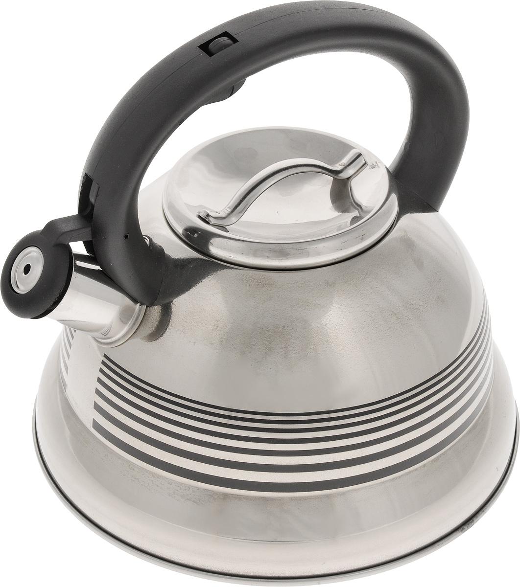 Чайник Mayer & Boch, со свистком, 2,6 л. 2417624176Чайник со свистком Mayer & Boch изготовлен из высококачественной нержавеющей стали, что обеспечивает долговечность использования. Носик чайника оснащен откидным свистком, звуковой сигнал которого подскажет, когда закипит вода. Свисток открывается нажатием кнопки на фиксированной ручке, сделанной из пластика.Чайник Mayer & Boch - качественное исполнение и стильное решение для вашей кухни. Подходит для всех типов плит, включая индукционные. Можно мыть в посудомоечной машине. Высота чайника (с учетом ручки и крышки): 20,5 см.Диаметр чайника (по верхнему краю): 10 см.Диаметр основания: 22 см.Диаметр индукционного диска: 17 см.