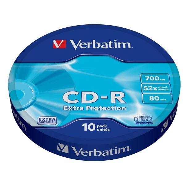 Диск CD-R Verbatim 700Mb 52x extra protect, 10 шт (43725) verbatim music cd r в киеве