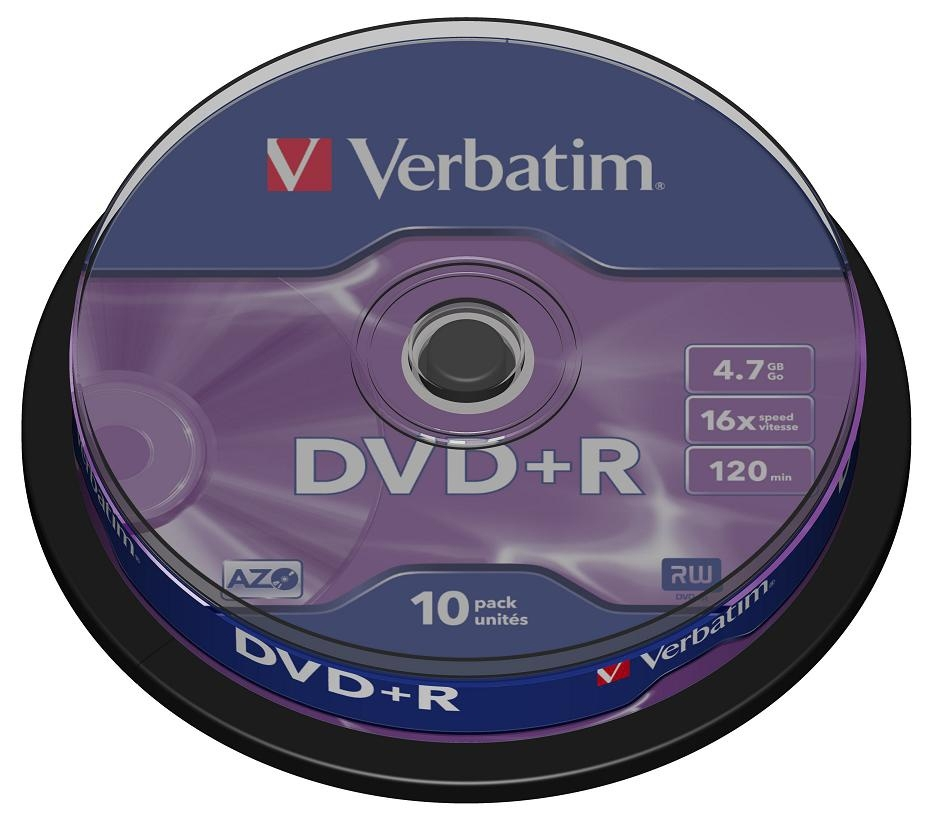 Диск DVD+R Verbatim 4.7Gb 16x Cake Box (10 шт)43498