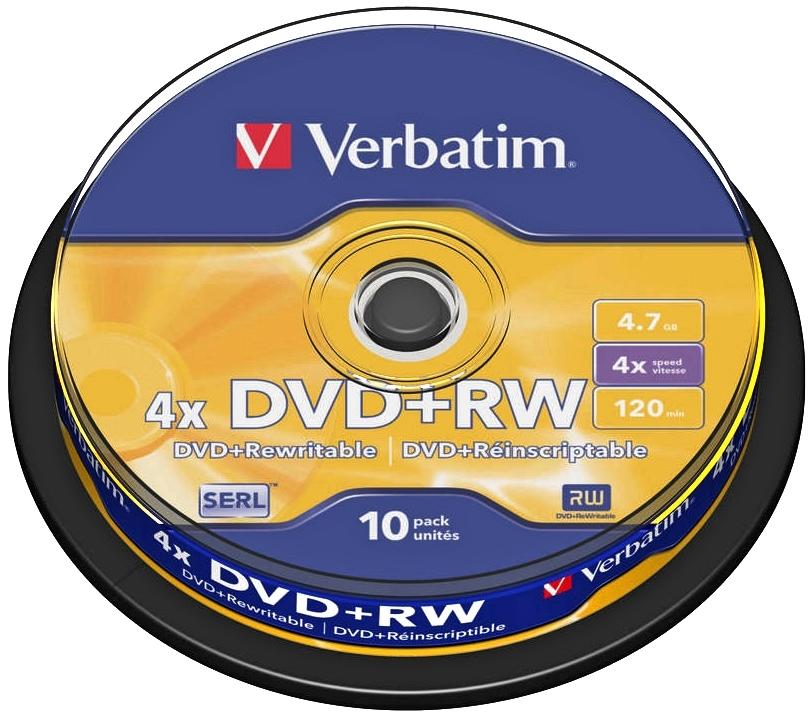 Диск DVD+RW Verbatim 4.7Gb 4x Cake Box (10 шт)