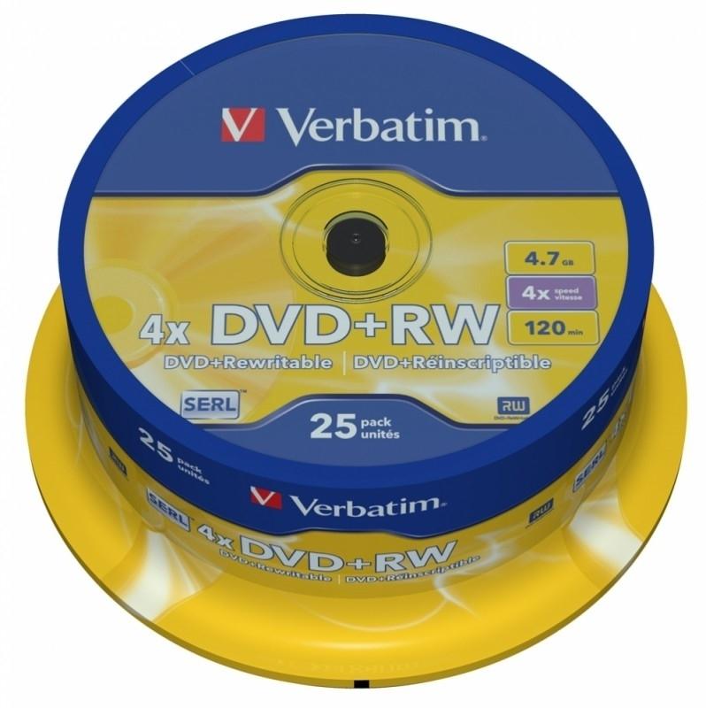 Диск DVD+RW Verbatim 4.7Gb 4x Cake Box (25 шт)43489Диски DVD-RW Verbatim надежные помощники при хранении большого количества информации. Они бережно и надолго сохранят всю необходимую информацию. Но даже если спустя некоторое время Вы обнаружили, что информация Вам больше не понадобится – не беда, ведь диски многоразового использования. Поверх ненужной информации Вы можете записать что-нибудь другое.
