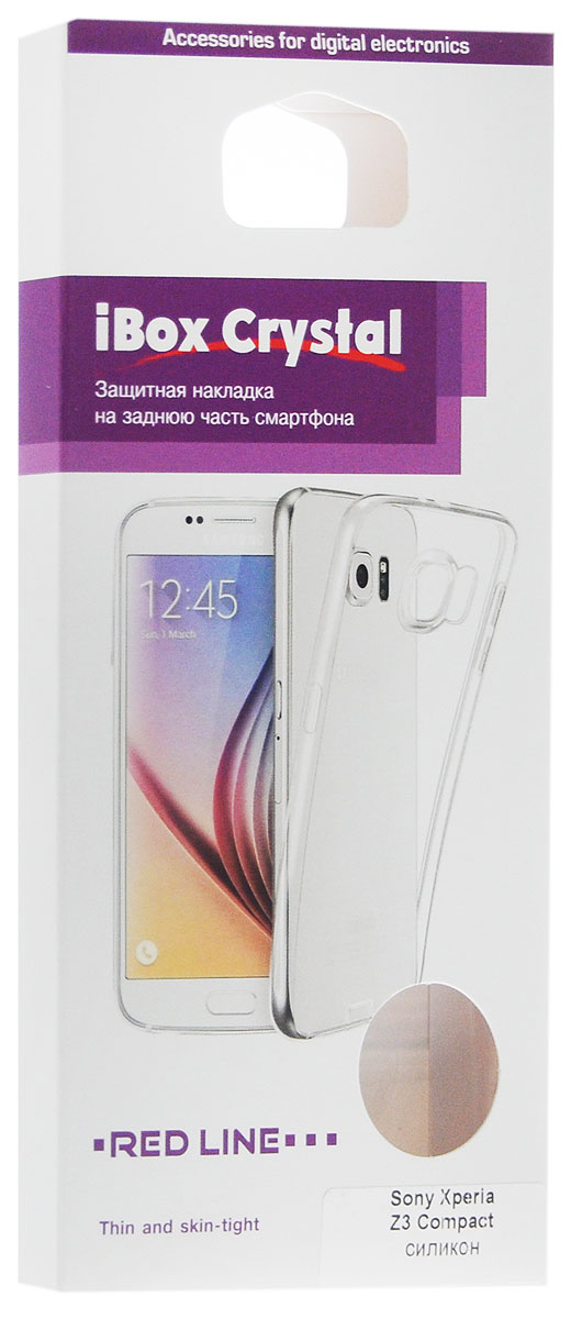 Red Line iBox Crystalчехол для Sony Xperia Z3 Compact, Clear Red Line