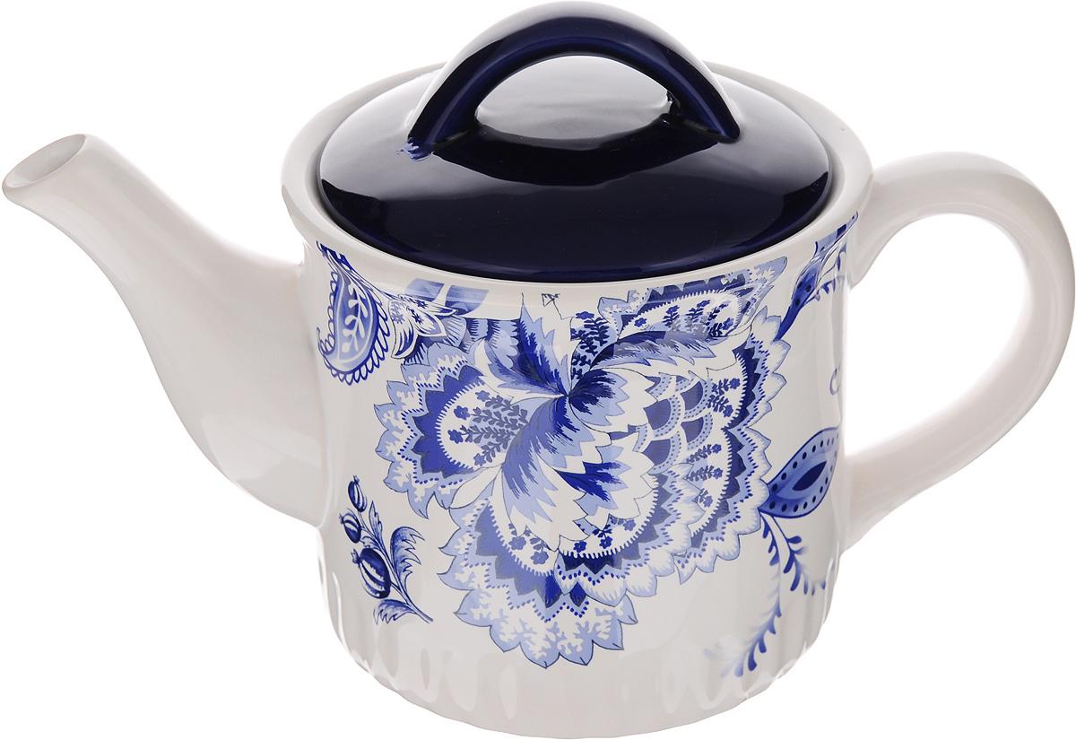 Чайник заварочный Loraine, 850 мл. 2482524825Заварочный чайник Loraine изготовлен из высококачественной доломитовой керамики. Он имеет изящную форму и красивый дизайн в стиле гжель. Гладкая, идеально ровная поверхность облегчает очистку. Широкое верхнее отверстие делает чайник необычным и оригинальным. Чайник сочетает в себе изысканный дизайн с максимальной функциональностью. Красочность оформления придется по вкусу и ценителям классики, и тем, кто предпочитает утонченность и изысканность. Чайник можно мыть в посудомоечной машине. Высота (без учета крышки): 11 см. Высота чайника (с учётом крышки): 15 см. Диаметр (по верхнему краю): 12,5 см. Диаметр основания: 11 см.