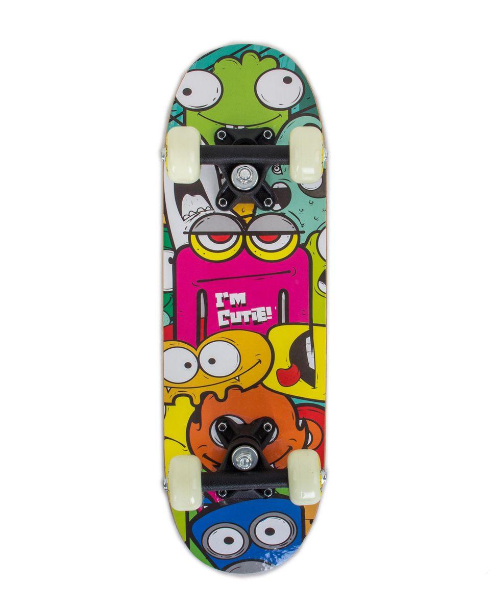 Скейтборд Larsen Kids 1, 51 х 15 см, цвет: зеленый, желтый, синий larsen kids