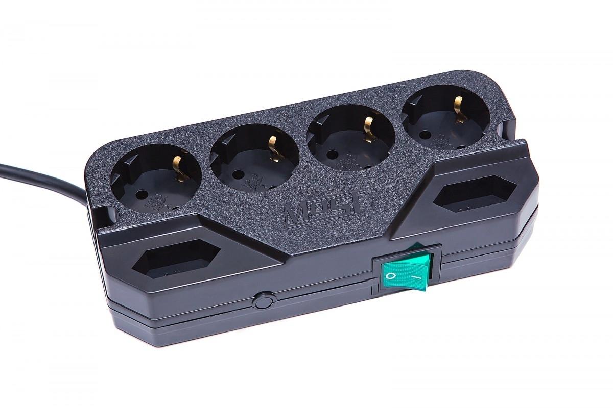 Сетевой фильтр Most СRG (6 розеток), BlackCRG 2M BKMost СRG — компактный сетевой фильтр для дома и офиса. Предназначен для защиты компьютерной техники, аудио-видео аппаратуры от импульсных всплесков напряжения и высокочастотных помех. Рекомендуется для использования в сетях с относительно стабильным напряжением. Замечательный сетевой фильтр с отличными техническими характеристиками. Имеет выключатель-индикатор и термобиметаллический предохранитель защищающий сетевой фильтр от перегрузки.