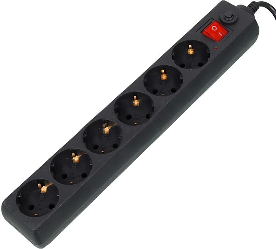 Сетевой фильтр Buro 600SH-5-B (6 розеток), Black600SH-5-B