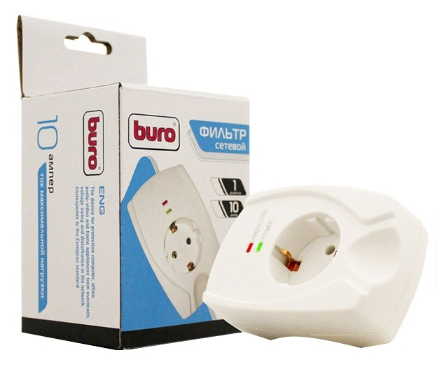 Сетевой фильтр Buro 100SH-W (1 розетка), White100SH-W
