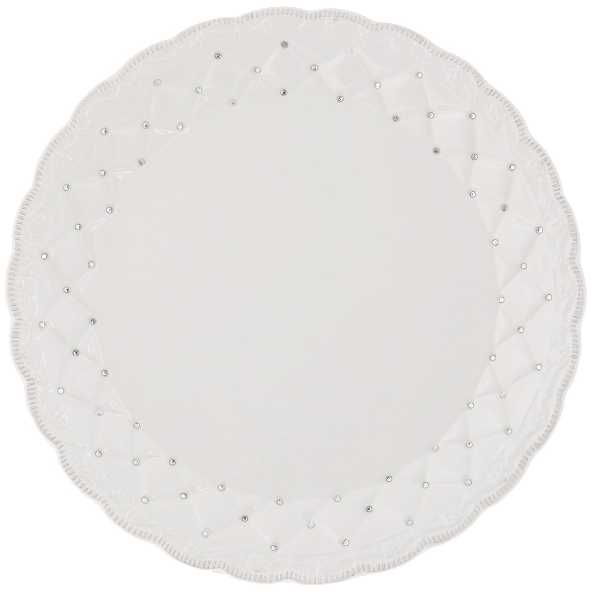 Блюдо Loraine Ажур, диаметр 26,5 см23844Блюдо Loraine Ажур, изготовленное из высококачественного доломита, украшено стразами. Стильная форма и интересное исполнение идеально впишутся в любой стиль, а универсальный белый цвет подойдет к любой мебели.Такое блюдо принесет новизну в вашу кухню и приятно порадует глаз.