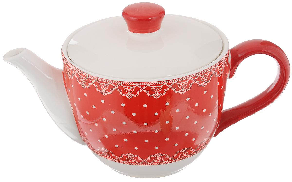 Чайник заварочный Loraine Красный узор, 900 мл25821Заварочный чайник Loraine Красный узор изготовлен из высококачественного доломита иоформлен красочным рисунком. Гладкая и идеально ровная поверхность обеспечивает легкуюочистку. Чайник поможет заварить крепкий ароматный чай и великолепно украсит стол к чаепитию. Не боится низких температур. Можно мыть в посудомоечной машине.Высота чайника (без учета крышки): 10,5 см. Высота чайника (с учётом крышки): 15 см. Диаметр чайника (по верхнему краю): 13,5 см. Диаметр основания: 13,2 см.