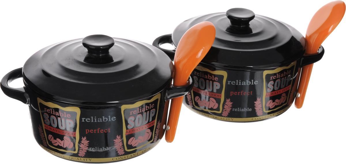 Набор супниц Loraine с крышками, с ложками, цвет: черный, красный, оранжевый, 6 предметов21275-2_оранжевые ложкиНабор Loraine состоит из двух супниц с крышками и двух ложек. Изделия выполнены из высококачественного фарфора. Внешние стенки супниц украшены надписью Soup. Идеально гладкая поверхность легко моется и обеспечивает длительный срок службы. Красивый и функциональный набор супниц Loraine оригинально дополнит обеденную сервировку стола и станет незаменимым на любой кухне. Подходит для подачи супов, каш, хлопьев и многого другого. Диаметр супницы: 14 см.Ширина супницы с учетом ручек: 19 см.Высота супницы: 7 см.Длина ложки: 13 см.