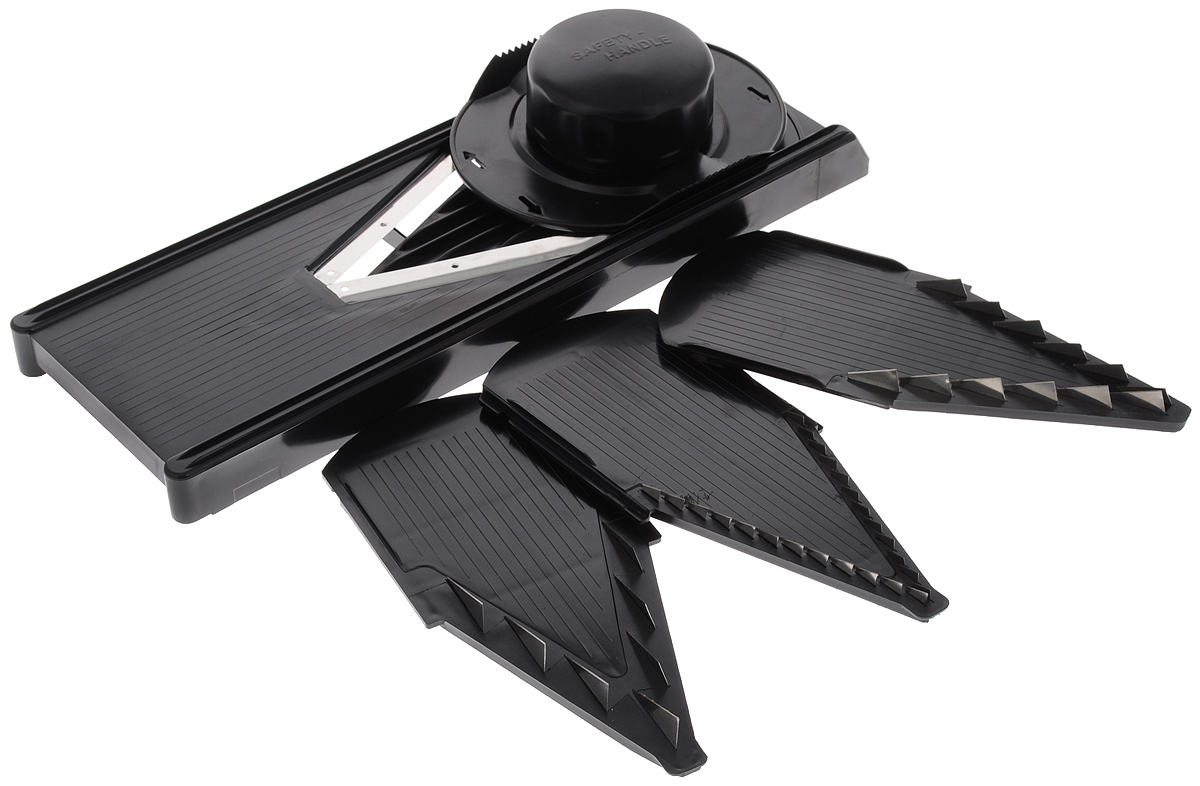 Овощерезка Super V Slicer, 4 насадки926Овощерезка Super V Slicer - это многофункциональный профессиональный прибор. Изделие позволяет нарезать продукты удивительно быстро и легко, благодаря оригинальности конструкции и целому ряду различных насадок. В комплект входит: - насадка для мелкой нарезки тонкой соломкой и мелкими кубиками 3,5 мм; - насадка для средней нарезки брусочками и кубиками среднего размера 7 мм; - насадка для крупной нарезки брусочками и крупными кубиками 10 мм; - безножевая насадка для нарезки овощей ломтиками, кольцами, полукольцами и шинковки. Овощерезка выполнена из высококачественных гигиеничных материалов. Отточенные лазером лезвия выполнены из нержавеющей стали, а корпус изготовлен из прочного пластика. Сталь не окисляется, таким образом, овощи и фрукты сохраняют полезные витамины и вещества. В комплект входит специальный плододержатель для безопасной работы. Высокая производительность, компактность и качество сделают овощерезку желанным аксессуаром на любой кухне. Нарезать или нашинковать картофель, перец, баклажаны, морковь, яблоки, приготовить салаты или детские овощные и фруктовые пюре - теперь вы сможете все это сделать с помощью одного инструмента. Изделие можно мыть в посудомоечной машине. Размер корпуса: 35,5 х 12,5 х 2,5 см. Размер насадок: 21,5 х 9,5 см. Размер плододержателя: 15 х 12 х 4 см.