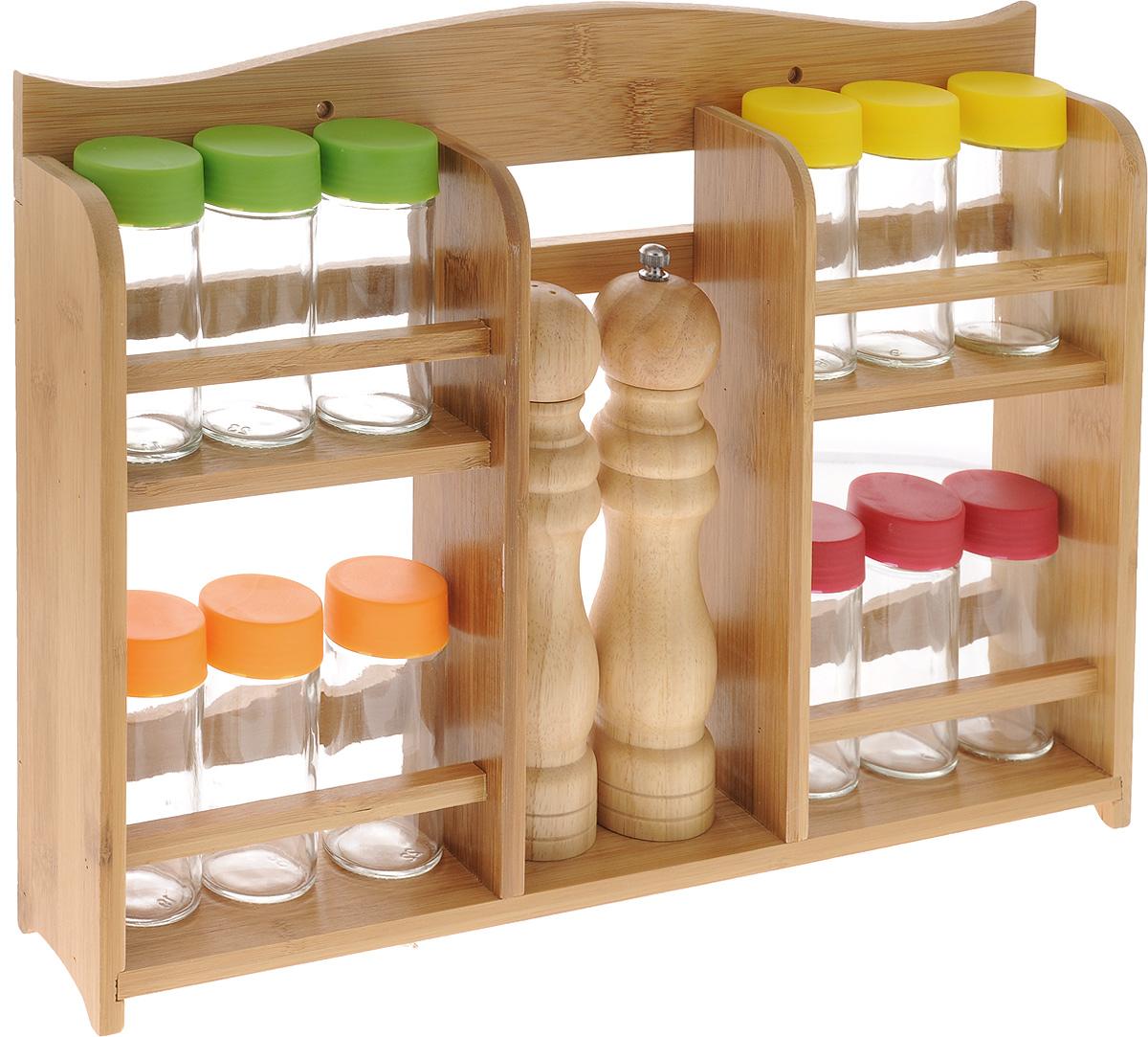 Набор для специй Mayer & Boch, 15 предметов. 2325923259Набор Mayer & Boch состоит из 12 баночек для специй,мельницы для перца, солонки и подставки. Баночки дляспеций, выполненные из прозрачного стекла, имеютзавинчивающиеся цветные пластиковые крышки иперфорированные пластиковые насадки, позволяющиеудобно приправлять блюда специями, не опасаясь рассыпатьих. Мельница для перца и солонка изготовлены изкаучукового дерева.Предметы набора компактно размещаются на бамбуковойдвухъярусной подставке. Ее можно закрепить на стене спомощью саморезов (входят в комплект). Очень удобно, когда во время приготовления пищи всеприправы под рукой!Набор для специй Mayer & Boch впишется в любой интерьеркухни, а также станет отличным подарком каждой хозяйке.Диаметр баночки (по верхнему краю): 4 см. Высота баночки (с учетом крышки): 10 см.Объем баночки: 100 мл.Диаметр солонки: 5 см.Высота солонки: 20 см. Диаметр мельницы: 5 см. Высота мельницы: 21,5 см. Размер подставки: 43 х 7,5 х 30,5 см.