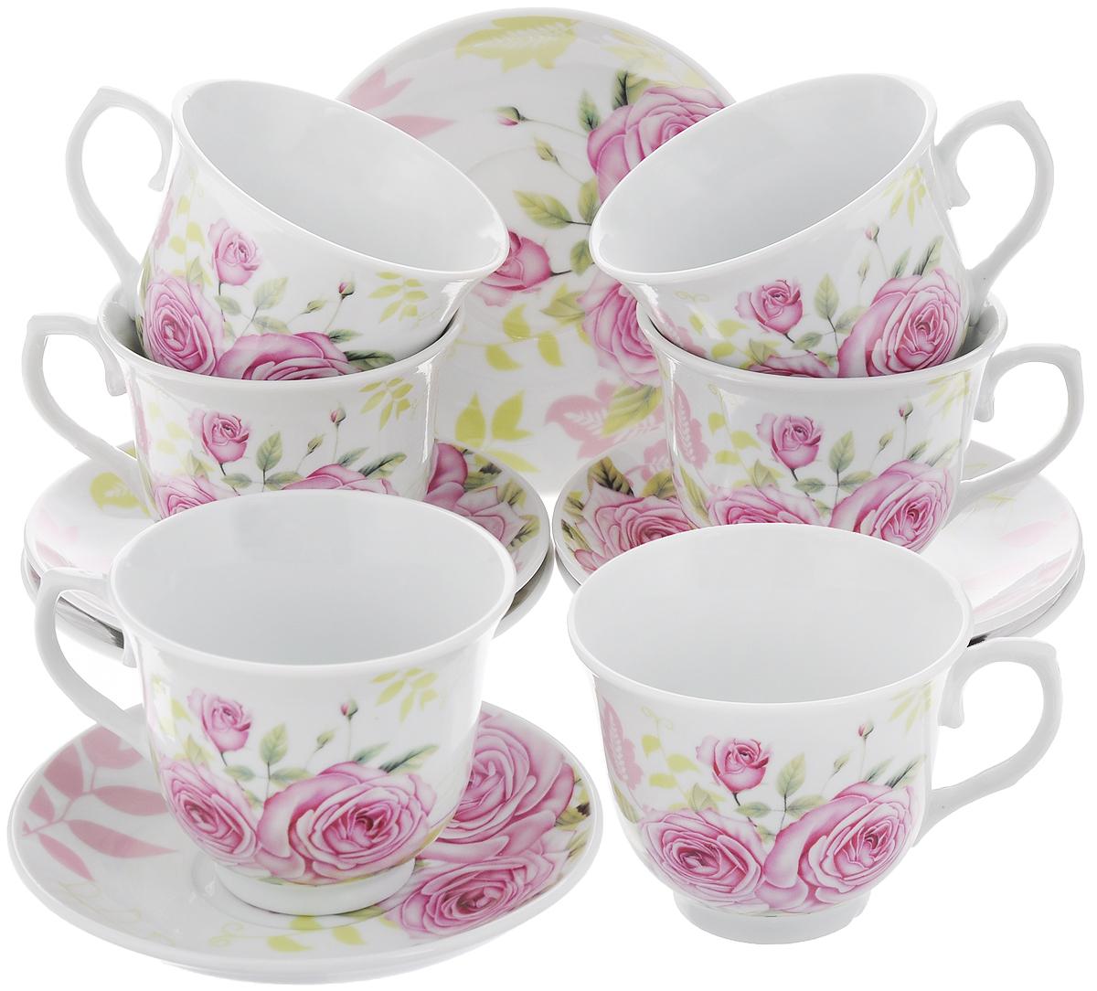 Набор чайный Loraine, 12 предметов. 2577925779Чайный набор Loraine состоит из 6 чашек и 6 блюдец. Изделия выполнены из высококачественного костяного фарфора и оформлены цветочным рисунком. Такой набор дополнит сервировку стола к чаепитию. Благодаря изысканному дизайну и качеству исполнения, он станет замечательным подарком для ваших друзей и близких. Набор упакован в подарочную коробку, задрапированную белой атласной тканью. Объем чашки: 220 мл. Диаметр чашки по верхнему краю: 8,7 см. Высота чашки: 7,5 см. Диаметр блюдца: 13,5 см.Высота блюдца: 2,2 см.
