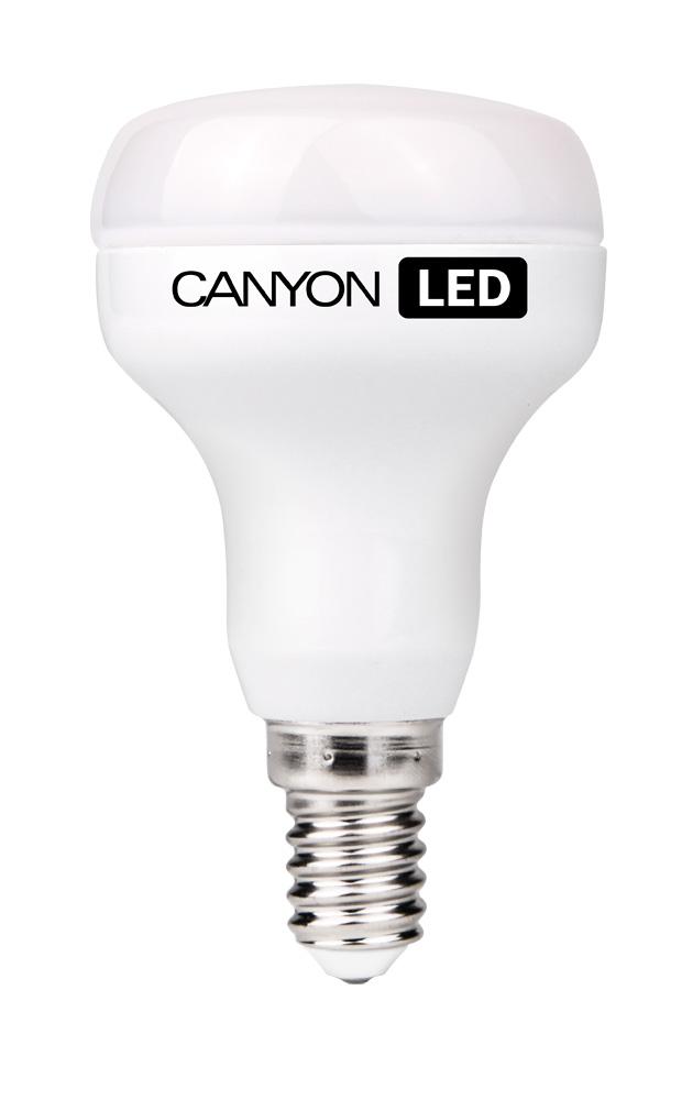 Лампа светодиодная Canyon, цоколь Е14, 6W, 2700К. R50E14FR6W230VWR50E14FR6W230VWЛампочка Canyon имеет уникальный модуль Cob Ice Canyon, позволяющий избежать чрезмерного нагревания. Предназначена для установки в светильниках с цоколем Е14. Является отличной современной альтернативой для обычных ламп накаливания, позволяющей экономить до 90% электроэнергии.