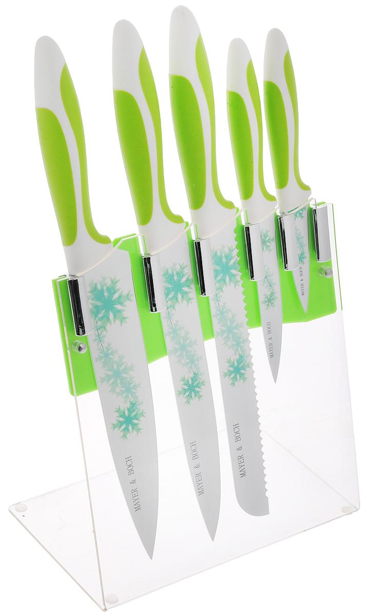 Набор ножей Mayer & Boch, на подставке, 6 предметов. 2245722457Набор Mayer & Boch состоит из 5 кухонных ножей и подставки. Лезвия ножейвыполнены из высококачественной нержавеющей стали с покрытием non-stick. Рукоятки ножей, выполненные из полипропилена и термопластика, обеспечивают комфортный илегкоконтролируемый захват. Ножи прекрасно подходят для ежедневной резкифруктов, овощей и мяса.Компактная подставка выполнена из акрила. На дне подставки расположенырезиновые ножки для предотвращения скольжения по столу. В наборвходят:- нож для очистки - маленький нож с коротким прямым лезвием. Им удобноснимать кожуру с любого фрукта и овоща;- нож универсальный - легкий и многофункциональный нож для резки небольшиховощей и фруктов, колбасы, сыра, масла. Имеет неширокое лезвие, остриесцентрировано;- нож для хлеба - нож с зубчатой кромкой лезвия применяется для нарезки каксвежих, так и черствых хлебобулочных изделий. При резке таким ножом мякишизделия не нарушается. Нож применяется длярезки рогаликов, булочек, бубликов и рулетов;- нож разделочный - нож с длинным, не широким, но достаточно толстымлезвием и со сцентрированным острием. Используется для разделки крупныховощей (капуста, свекла, кабачок) для нарезки большихкусков сырого и вареного мяса, разделки курицы, крупной рыбы. Им нарезаютарбуз, дыню и многое другое;- нож поварской - нож с толстым, широким и длинным лезвием. Все это позволяет легко рубить капусту, овощи, зелень, резатьзамороженное мясо, рыбу и птицу. Этот набор включает все необходимое для каждодневногоприготовления пищи. Современный дизайн украсит интерьер вашей кухни.Общая длина поварского ножа: 33 см. Длина лезвия поварского ножа: 19,5 см. Общая длина разделочного ножа: 33,5 см. Длина лезвия разделочного ножа: 20 см. Общая длина ножа для хлеба: 33 см. Длина лезвия ножа для хлеба: 20 см. Общая длина универсального ножа: 22 см. Длина лезвия универсального ножа: 11 см. Общая длина ножа для очистки: 18,2 см. Длина лезвия ножа для очистки: 7 см. Размер подставки (