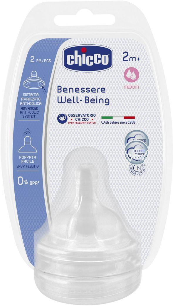 Chicco Соска Well-Being силиконовая средний поток от 2 месяцев 2 шт chicco соска силиконовая средний поток с рождения