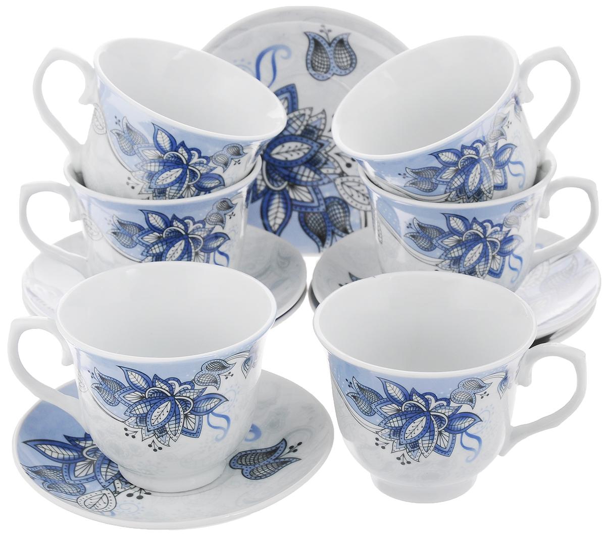 Набор чайный Loraine, 12 предметов. 2578524239Чайный набор Loraine состоит из 6 чашек и 6 блюдец.Изделия выполнены из высококачественного костяного фарфора иоформлены ярким рисунком.Такой набор изящно дополнит сервировку стола к чаепитию.Благодаря оригинальному дизайну и качеству исполнения он станетзамечательным подарком для ваших друзей и близких.Набор упакован в подарочную коробку, задрапированную белойатласной тканью.Объем чашки: 220 мл.Диаметр чашки по верхнему краю: 9 см.Высота чашки: 7,5 см.Диаметр блюдца: 13,2 см. Высота блюдца: 2,2 см.