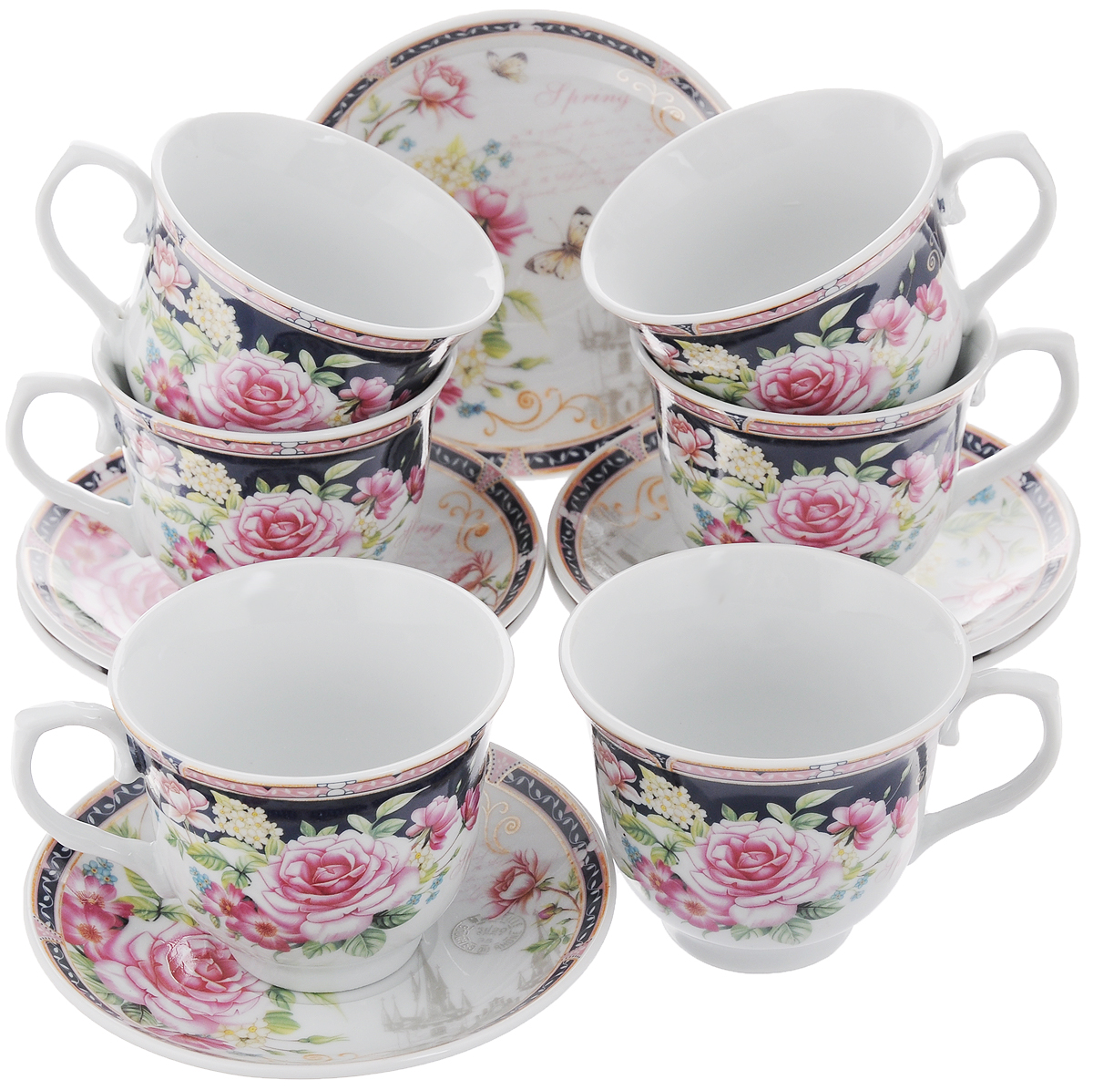 Набор чайный Loraine, 12 предметов. 2578325783Чайный набор Loraine состоит из 6 чашек и 6 блюдец. Изделия выполнены из высококачественного костяного фарфора и оформлены цветочным рисунком. Такой набор дополнит сервировку стола к чаепитию. Благодаря изысканному дизайну и качеству исполнения он станет замечательным подарком для ваших друзей и близких. Набор упакован в подарочную коробку, задрапированную белой атласной тканью. Объем чашки: 220 мл. Диаметр чашки по верхнему краю: 8,7 см. Высота чашки: 7,5 см. Диаметр блюдца: 13,5 см.Высота блюдца: 2,2 см.