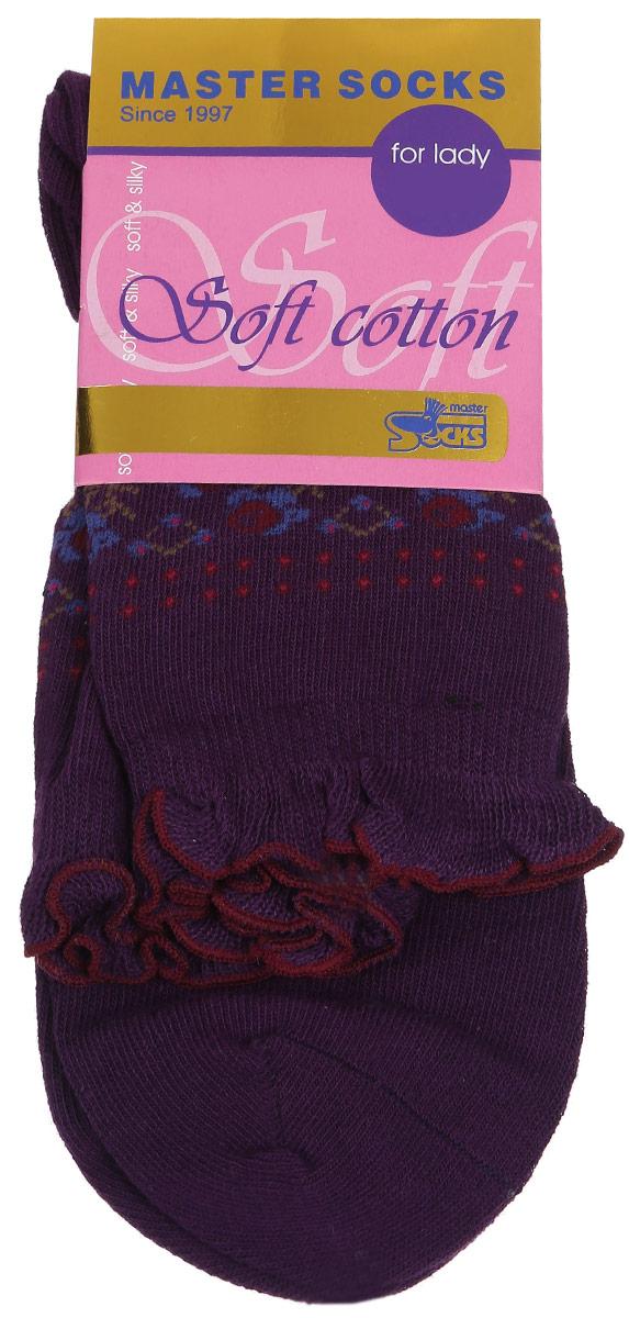 Носки женские Master Socks Soft Cotton, цвет: темно-фиолетовый. 85008. Размер 2385008Удобные носки Master Socks, изготовленные из высококачественного комбинированного материала, очень мягкие и приятные на ощупь, позволяют коже дышать.Эластичная резинка плотно облегает ногу, не сдавливая ее, обеспечивая комфорт и удобство. Модель с стандартным паголенком оформлена оригинальным принтом, манжета изделия дополнена рюшами.Удобные и комфортные носки великолепно подойдут к любой вашей обуви.