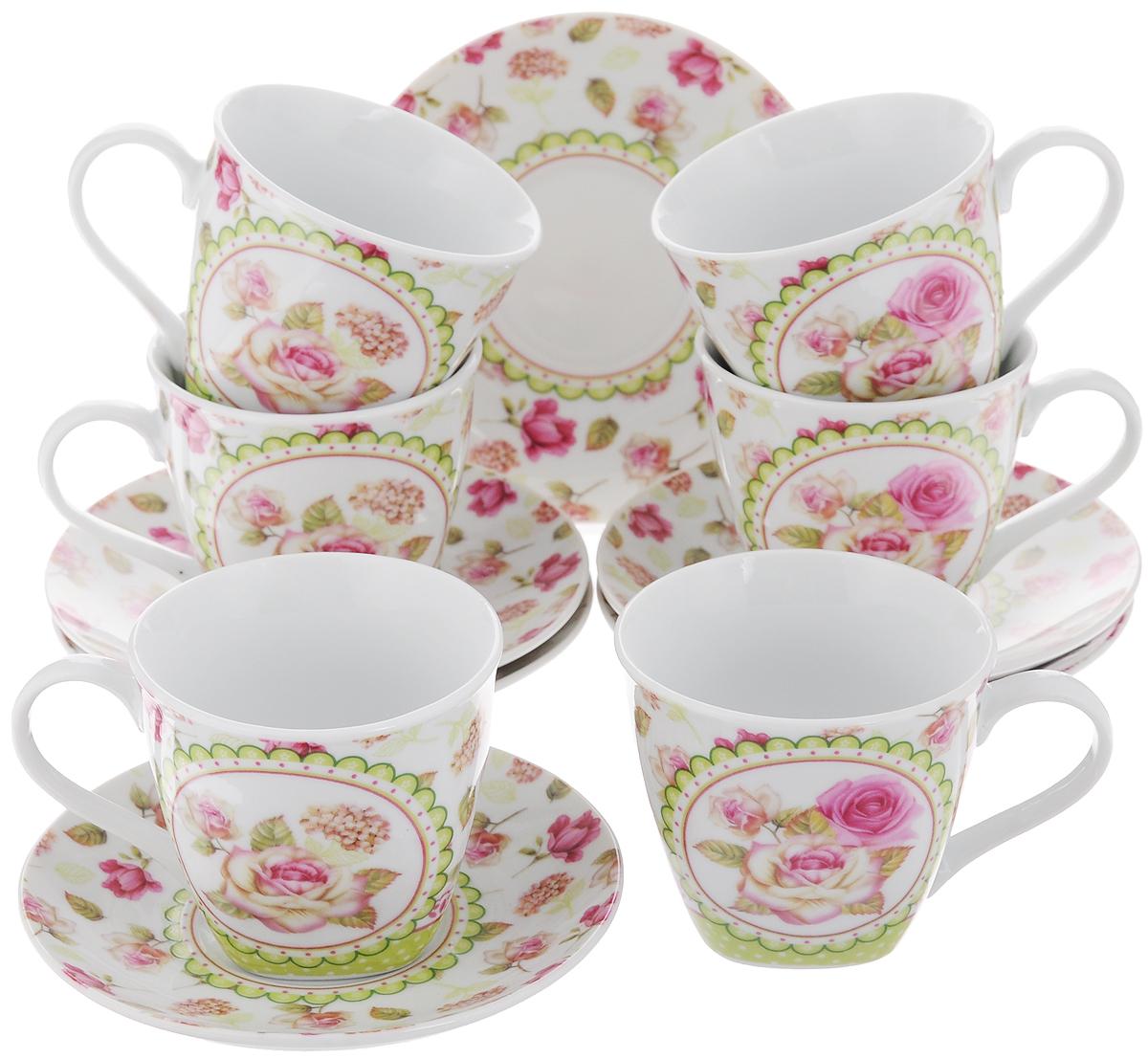 Набор чайный Loraine, 12 предметов. 2579825798Чайный набор Loraine состоит из 6 чашек и 6 блюдец. Изделия выполнены из высококачественного костяного фарфора и оформлены цветочным рисунком. Такой набор дополнит сервировку стола к чаепитию. Благодаря изысканному дизайну и качеству исполнения он станет замечательным подарком для ваших друзей и близких. Набор упакован в подарочную коробку, задрапированную белой атласной тканью. Объем чашки: 220 мл. Диаметр чашки по верхнему краю: 8,3 см. Высота чашки: 7,5 см. Диаметр блюдца: 14 см.Высота блюдца: 2,2 см.