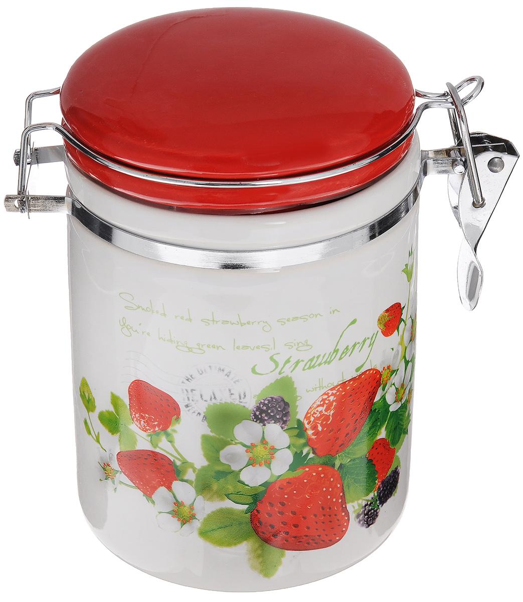 Банка для сыпучих продуктов Loraine, с зажимом-клипсой, 390 мл. 2373923739Банка для сыпучих продуктов Loraine изготовлена из прочной керамики высокого качества.Гладкая и ровнаяповерхность обеспечивает легкую очистку.Изделие оформлено изображением ягод.Банка прекрасно подойдет для хранения различныхсыпучих продуктов: специй, чая, кофе, сахара, круп и многого другого. Крышка плотно закрываетсяс помощью металлического зажима-клипсы, дольше сохраняя свежесть продуктов.Можно использовать в микроволновой печи, холодильнике и мыть в посудомоечной машине. Диаметр банки (по верхнему краю): 10 см.Диаметр основания банки: 10 см.Высота стенки банки: 12 см.