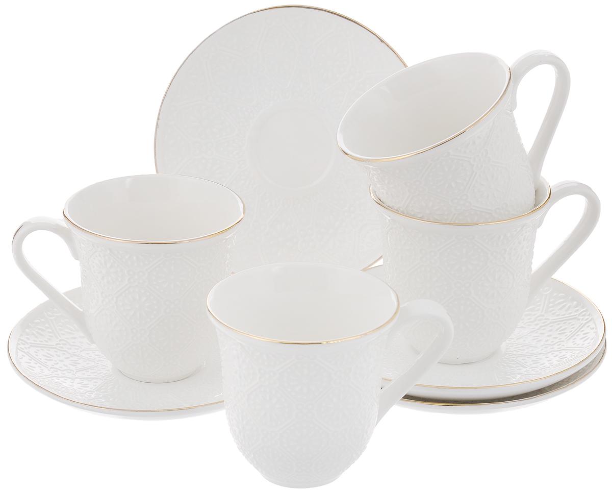 Набор чайный Loraine, 8 предметов. 2577725777Чайный набор Loraine состоит из 4 чашек и 4 блюдец, выполненных из высококачественного костяного фарфора. Изделия прекрасно дополнят сервировку стола к чаепитию. Благодаря изысканному дизайну и качеству исполнения такой набор станет замечательным подарком для ваших друзей и близких. Набор упакован в подарочную коробку, задрапированную белой атласной тканью. Объем чашки: 240 мл. Диаметр чашки по верхнему краю: 8,2 см. Высота чашки: 8,5 см. Диаметр блюдца: 14,2 см.Высота блюдца: 2 см.
