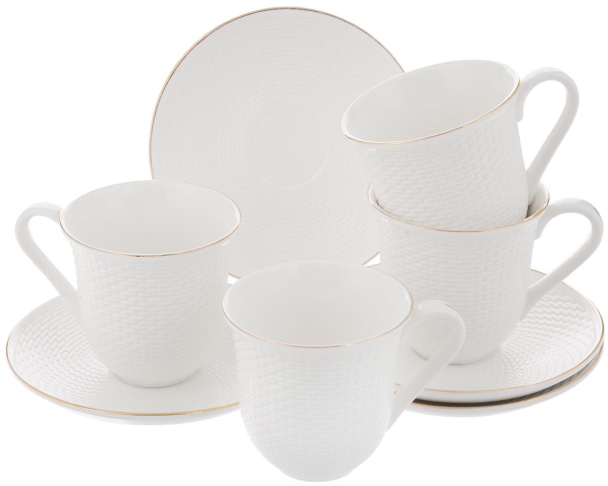 Набор чайный Loraine, 8 предметов. 2577525775Чайный набор Loraine состоит из 4 чашек и 4 блюдец, выполненных из высококачественного костяного фарфора. Изделия прекрасно дополнят сервировку стола к чаепитию. Благодаря изысканному дизайну и качеству исполнения такой набор станет замечательным подарком для ваших друзей и близких. Набор упакован в подарочную коробку, задрапированную белой атласной тканью. Объем чашки: 240 мл. Диаметр чашки по верхнему краю: 8,2 см. Высота чашки: 8,5 см. Диаметр блюдца: 14,4 см.Высота блюдца: 2 см.