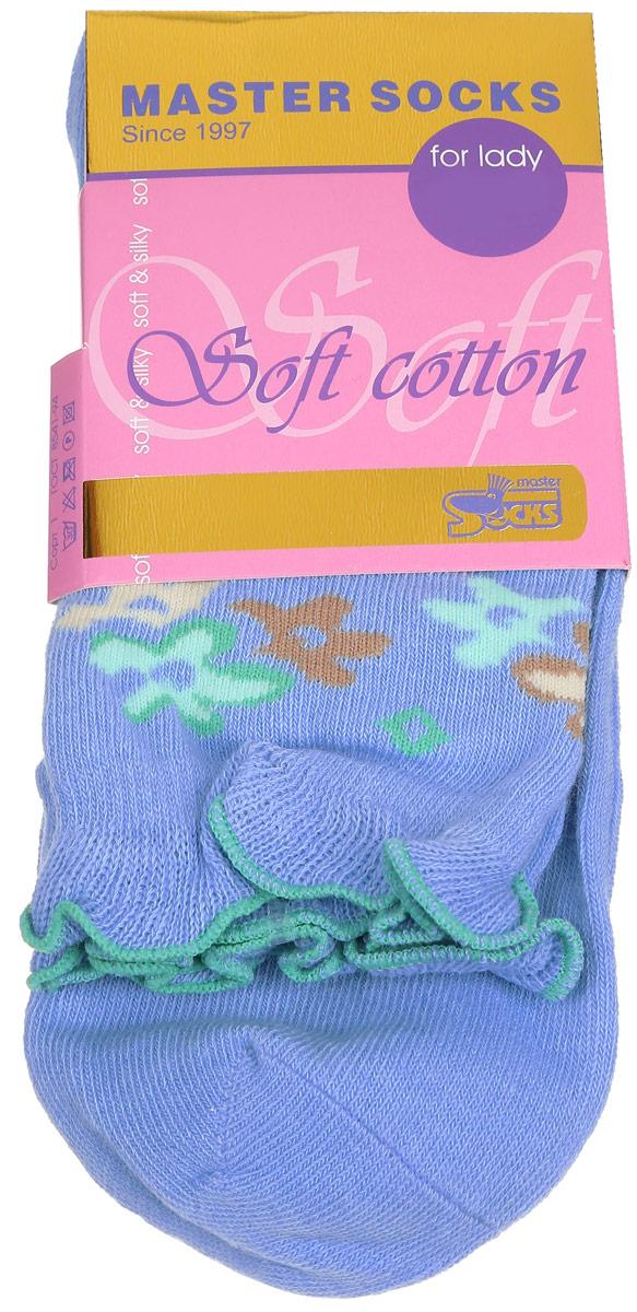 Носки женские Master Socks, цвет: голубой. 85008. Размер 2585008Удобные носки Master Socks, изготовленные из высококачественного комбинированного материала, очень мягкие и приятные на ощупь, позволяют коже дышать.Эластичная резинка плотно облегает ногу, не сдавливая ее, обеспечивая комфорт и удобство. Модель с стандартным паголенком оформлена оригинальным принтом, манжета изделия дополнена рюшами.Удобные и комфортные носки великолепно подойдут к любой вашей обуви.