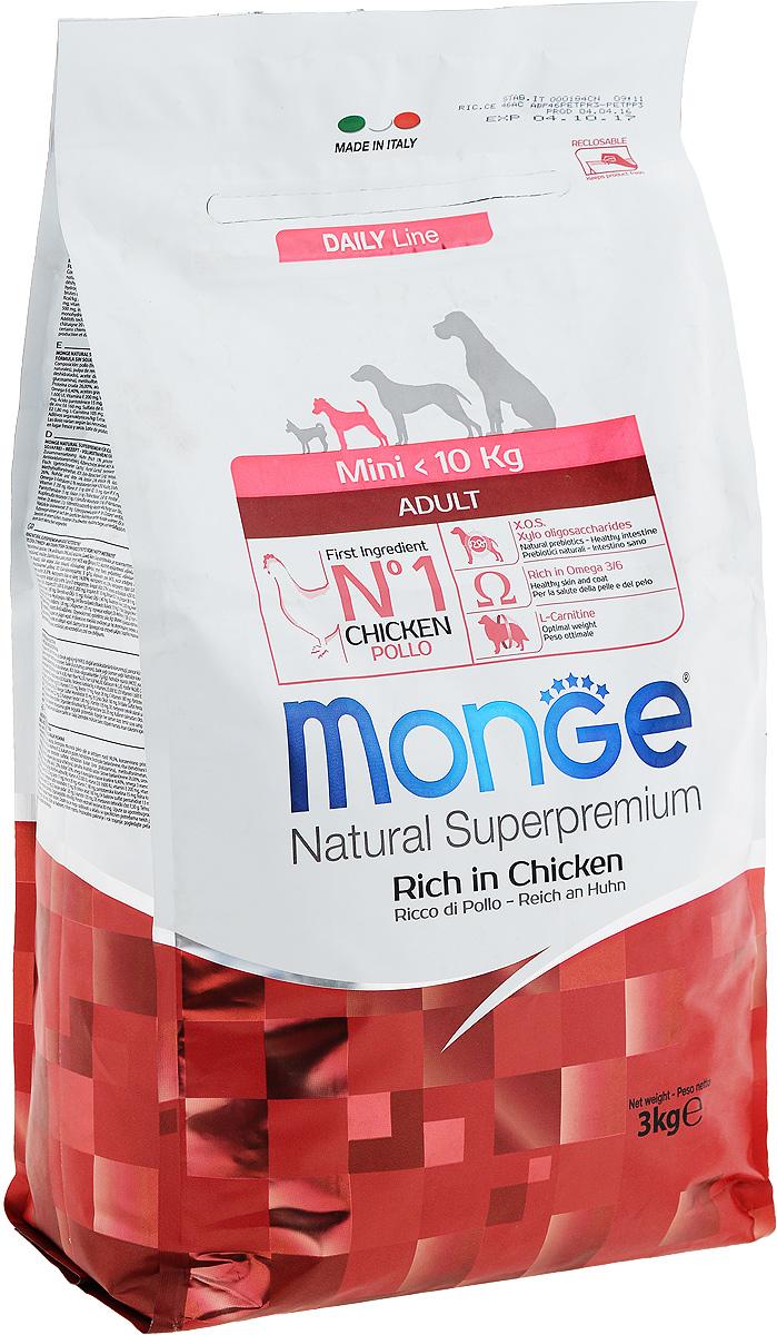 Корм сухой Monge для взрослых собак мелких пород, с курицей, 3 кг70004114Сухой корм Monge - это полнорационный корм, специально разработанный для ежедневного питания взрослых собак мелких пород с нормальной физической активностью. Благодаря своему сбалансированному белковому и энергетическому содержанию и рецептуре, богатой натуральными ингредиентами, ваши питомцы усваивают необходимые питательные вещества без накопления холестерина. Корм гарантирует оптимальное соотношение жирных кислот Омега-3 и Омега-6. Состав: куриное мясо (свежее мин. 10%, обезвоженное 26%), рис (мин. 26%), кукуруза, куриное масло, свекольный жом, овес, дрожжи, яичный крахмал, мука сельди, рыбий жир, экстракт Юкки Шидигера, цистин, морские водоросли, фруктоолигосахариды 330 мг/кг, маннан-олигосахариды 330 мг/кг, хондроитин сульфат 105 мг/кг, метилсульфонилметан 150 мг/кг, глюкозамин 150 мг/кг.Анализ: протеин 26%, масла и жиры 14%, сырая клетчатка 2,5%, сырая зола 6%,фосфор 1,34%, линолевая кислота 1,80%, Омега-6 2,52%, Омега-3 0,58%.Пищевые добавки, витамины: витамин А 19700 МЕ/кг, витамин D3 1350 МЕ/кг, витамин Е 126 мг/кг, витамин С 35 мг/кг, кальций 13,68 мг/кг, холина хлорид 192 мг/кг, хлорид калия 6,640 мг/кг, витамин B1 14 мг/кг, витамин B2 14 мг/кг, витамин В6 4 мг/кг, Витамин В12 0,08 мг/кг, биотин 0,26 мг/кг, L-карнитин 60 мг/кг, цинк 128 мг/кг, железо 80 мг/кг, марганец 30 мг/кг, медь 12 мг/кг, йод 0,80 мг/кг, аминокислоты (метионин 1560 мг/кг).Товар сертифицирован.