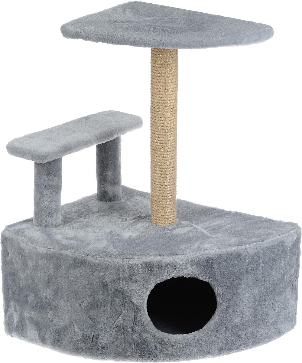 Игровой комплекс для кошек Меридиан, угловой, с домиком и когтеточкой, цвет: светло-серый, бежевый, 58 х 48 х 79 смД421 ССИгровой комплекс для кошек Меридиан выполнен из высококачественного ДВП и ДСП и обтянут искусственным мехом. Изделие предназначено для кошек. Комплекс оснащен ступенькой. Ваш домашний питомец будет с удовольствием точить когти о специальный столбик, изготовленный из джута. А отдохнуть он сможет либо на полке, находящейся наверху столбика, либо в расположенном внизу домике.Общий размер: 58 х 48 х 79 см.Размер полки: 37 х 37 см.Высота ступеньки: 23 см.Размер домика: 58 х 48 х 28 см.
