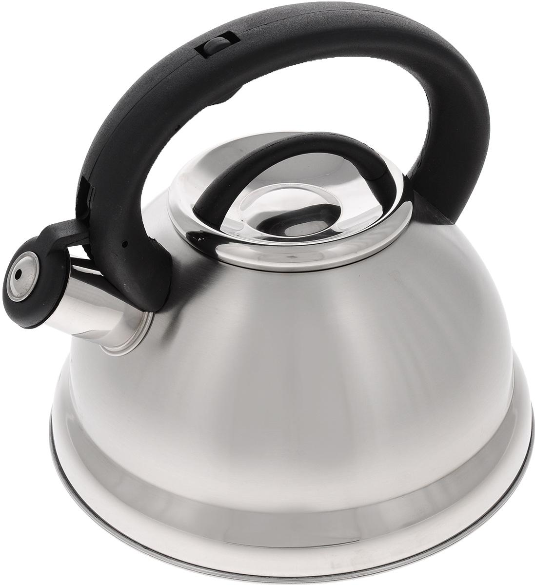 Чайник Mayer & Boch, со свистком, 2,8 л. 2163521635Чайник Mayer & Boch выполнен из высококачественной нержавеющей стали, что делает его весьма гигиеничным и устойчивым к износу при длительном использовании. Носик чайника оснащен откидным свистком, звуковой сигнал которого подскажет, когда закипит вода. Свисток открывается нажатием кнопки на ручке. Фиксированная ручка, изготовленная из пластика, делает использование чайника очень удобным и безопасным. Поверхность чайника гладкая, что облегчает уход за ним. Эстетичный и функциональный, такой чайник будет оригинально смотреться в любом интерьере. Чайник пригоден для всех типов плит, включая индукционные. Можно мыть в посудомоечной машине.Высота чайника (без учета ручки и крышки): 12 см.Высота чайника (с учетом ручки и крышки): 21 см.Диаметр чайника (по верхнему краю): 10 см.